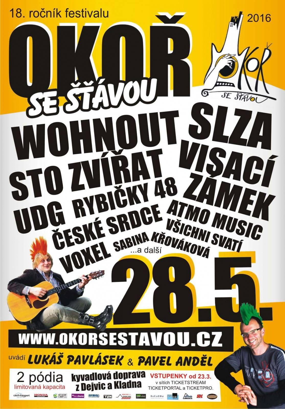 Okoř se šťávou představuje program: Vystoupí Slza, ATMO Music, Rybičky 48, UDG, Voxel, Wohnout i Visací zámek