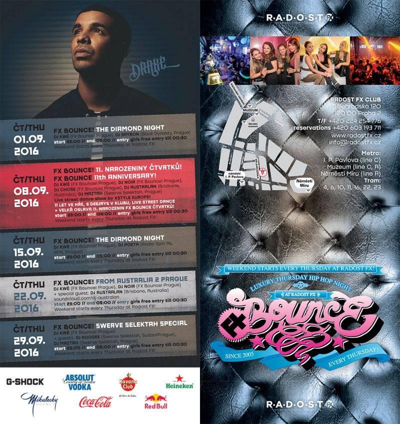 Nejstarší pravidelná čtvrteční klubová noc v Česku FX Bounce! oslaví v klubu Radost FX 11. narozeniny