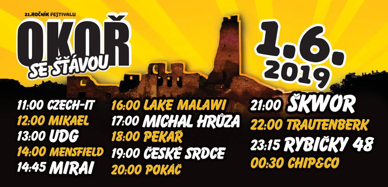 Festival Okoř se šťávou zveřejnil časový harmonogram, hlavními hvězdami budou Škwor, Trautenberk i Rybičky 48