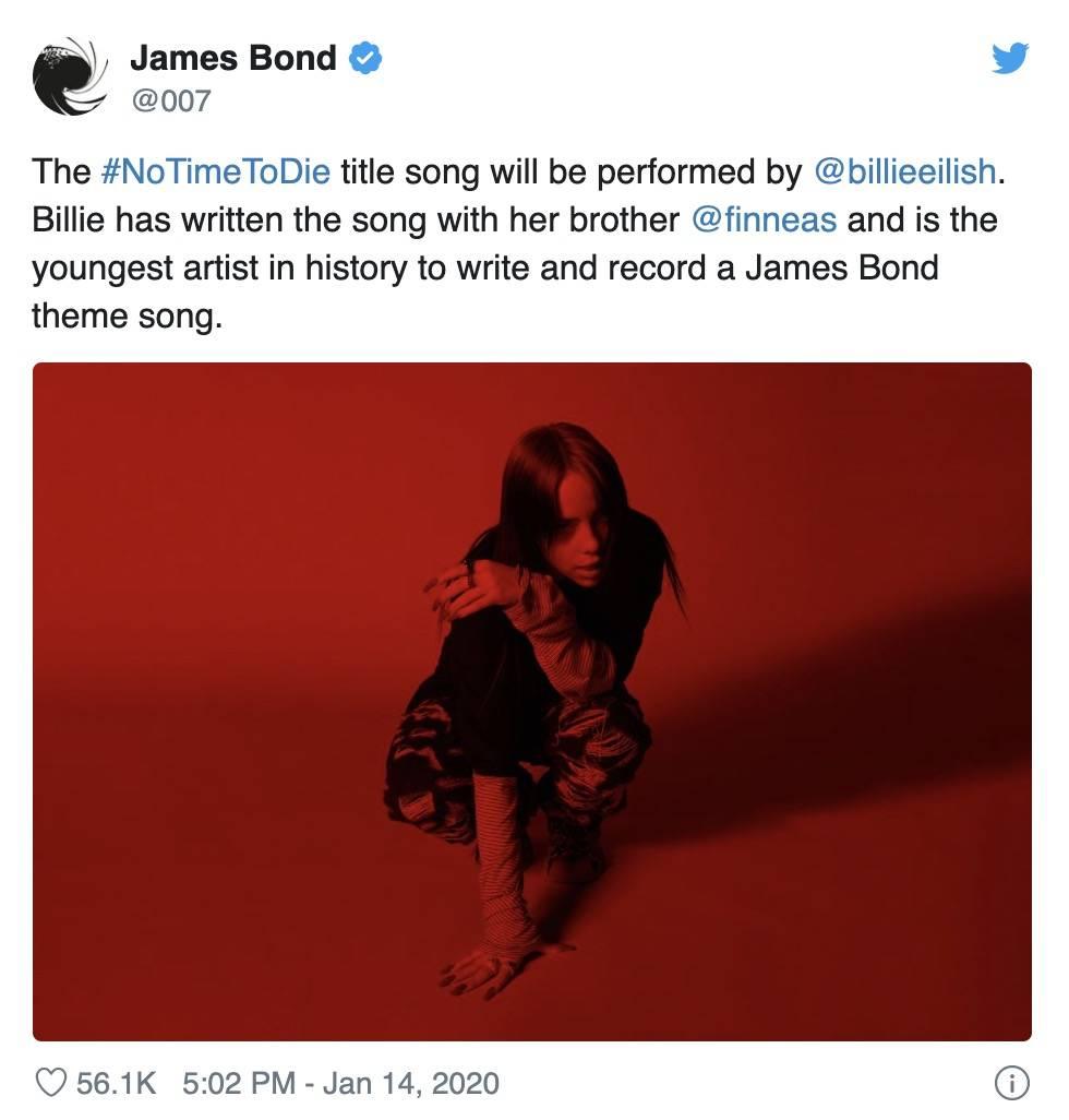 Billie Eilish se stala historicky nejmladším hudebníkem, který nahrál titulní píseň k Jamesi Bondovi