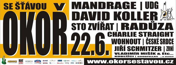 Okoř se šťávou 2013: Mandrage, David Koller, Charlie Straight nebo UDG