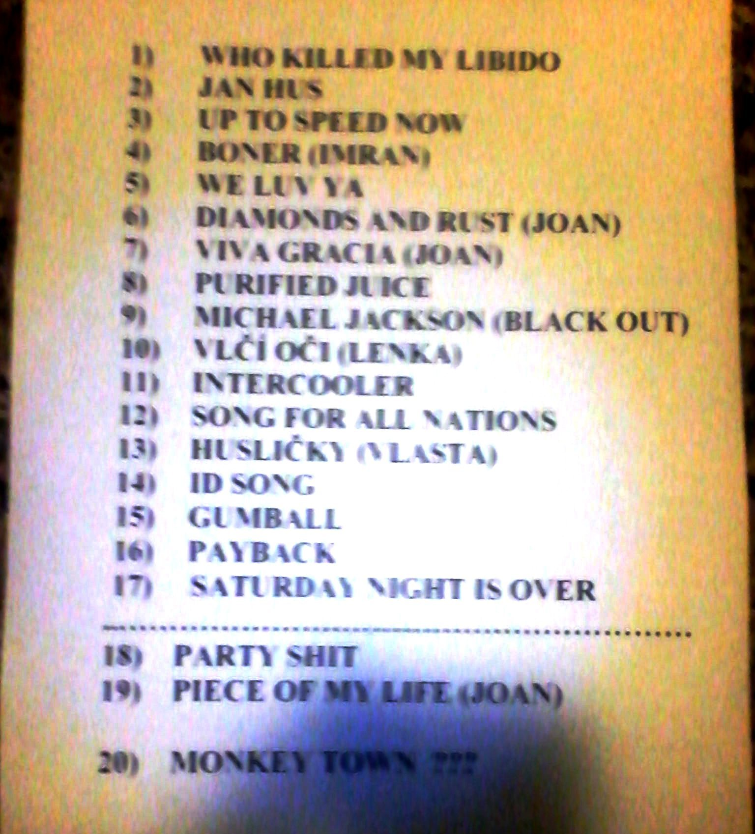 monkey business 20.12.12. setlist
