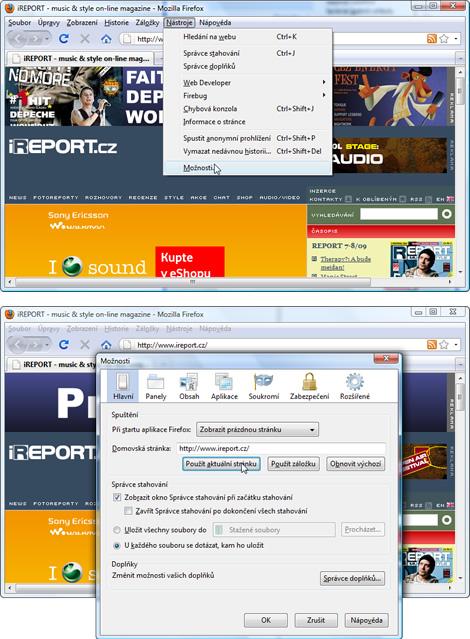 iReport.cz jako homepage v Mozille Firefox