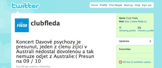 Fléda informuje pomocí Twitteru